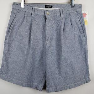 Dockers Mens Shorts Sz 34 Casual Pleat Front Blue